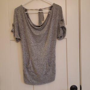 Gray and black lace shirt